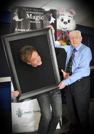 Graeme losing his head with Councillor Allen Kerr promoting magic in March 2015