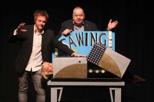 Newcastle magician sawing in half